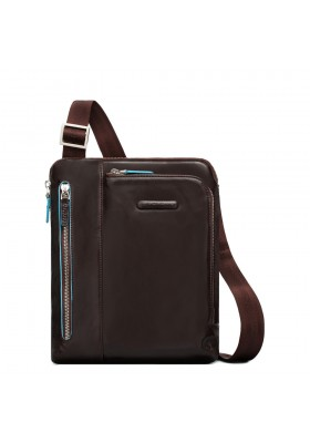 Shoulder pocketbook Piquadro Setebos man with strap blue