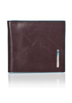 Wallet Money clip Piquadro Men's leather Line Blue Square